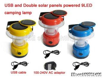Wholesale Double solar panels camping lantern light 9LED+USB charger 60pcs/lot Free shipping