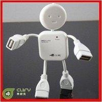 Wholesale! High Speed Little Human Shape robot 4 Port USB Hub Free Shipping 10pcs/lot