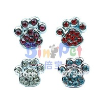 MOQ 24pcs Free shipping! can mix  4 colors,10mm Crystal Paw Heart sliders, DIY pet letters personalized pet collar charm