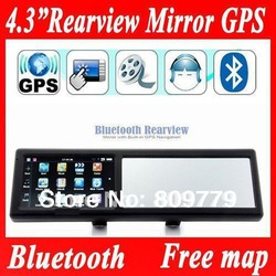 4.3 Inch Rearview Mirror with Built-in Car GPS navigation,MTK,wince 6.0,Bluetooth,AVIN,FM,4GB with the best map in Aliepress(China (Mainland))