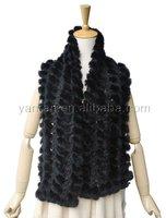 Hot sale YR-320 Genuine knitted rex rabbit fur muffler scarf ~wholesale~retail~OEM