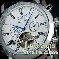 JARAGAR Luxury Allochroic White Glass Tourbillon Analog Mens Mechanical Watch Wristwatch    Christmas Gift