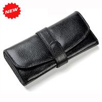 2015 Hot Women Long Organizer Wallet Black Genuine Leather Clutch Purse,3 Money Places,8 Card Places,1 Zipper Pocket,YW-DM722