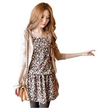 2PCS CARDIGAN+PRINTED HALTER TOP,fashion shirt,autunm dress 2013,casual dresses,free shipping,Q193