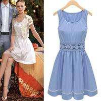 Free shipping 2014 New Women's Dress European Lacework Design Sleeveless Cute Gentlewoman Dress S M L XL Women Clothing 126202
