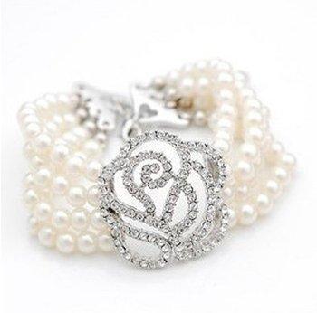 fashion crystal flower pearl bangles for wedding