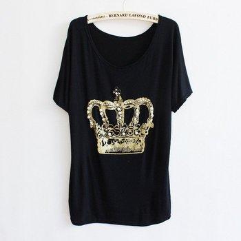 Wholesale - New  Women Fashion Ruili Shiny diamond Crown Bat type Short sleeve T-shirt