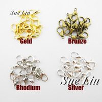 10mm 12mm 14mm 16mm Alloy Lobster Clasp Clip Clasp -Silver Gold Rhodium Bronze LXK