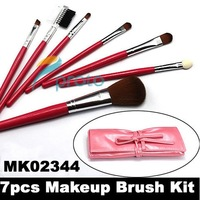 Express Freeshipping 20pcs/lot !NEW 7 pcs make up Cosmetic Brush Set with soft roll-up pink case SKU:M0086X