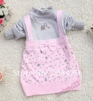 2014 Spring lovely Pectoral bowknot girls dress set, woollen knitted tutu style, 1pcs retail