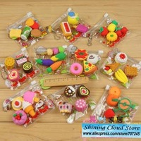 Free ship!40bag!Cartoon PVC bag simulation eraser/food /tool/animal erasers/9model for choice