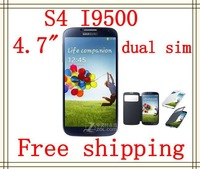 Free shipping NEW I9500 phone Dual SIM Card 9500 phone 4.7 inch touch screen FM s4 phone