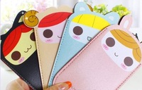 Minimum Order 15$,  Cartoon Girls NEW PU Phone Pouch ; 13*7.5CM Cell Mobile Phone BAG Pouch Case Holder For Phone4 4s BAG