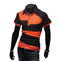 Free Shipping 2013 Men's Single Cotton Fashion Bump Color Design Short-Sleeve POLO Stripe T-shirt  M,L,XL RG1204086