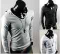 Fashion hood pile collar design trends Korean men Slim long-sleeved T shirt hooded men&#39;s shirt,5959