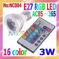 3W E27 RGB LED Bulbs AC 90-265V with Remote Control 16 Colors changed Free shipping # NC004