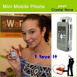 "Original sWaP Crystal Nova EC107S Diamond 1.76"" Touch Screen Mini Watch Mobile Phone With FM Radio,MP3, Bluetooth Cell Phone(China (Mainland))"