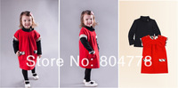 wholesale new fashion girl sets fall children 2pcs-clothing set sleeveless dress+T shirt luxury kid suits 6pcs/lot