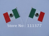 Free shipping small National flags Mexico with plastic poles, Polyester material