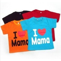 Baby clothes baby shirt/T-Shirt boy & girl Short-Sleeve Shirt I love mama t-shirt four colors Free shipping