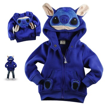 In Stock, Baby Stitch/Garfield/Cow Stylish Hooded Coat, Baby Cartoon Jacket, Baby Garment, freeshipping