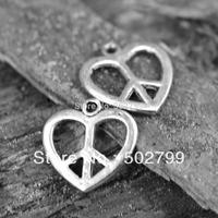 Wholesale 60PCS Tibetan Silver tone peace Sign Love Heart shape Charms TS6075