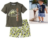 2012 New! Free shipping Boys' set tops+pants,Children dinosaur short sleeve clothes sets,Baby suit wholesale,5sets/lot