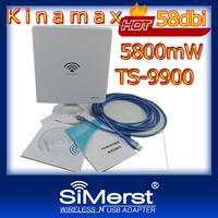 Free shipping DHL !!! Kinamax TS-9900 3070 Chipset 5800mW 58dbi 5800mW Wifi Lan Card High Power Wireless USB Adapter Adaptador