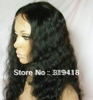 "24"" #1 jet black 100% Human Hair Front  Lace  Wigs - New Fashion Style Indian Remy - deepwave - Retails & Wholesales best sell"