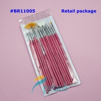 Freeshipping-15pcs Nail Art Design Brushes Gel Set Painting Draw Pen Polish Red Handle Retail Dropshipping SKU:G0024
