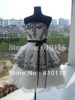 New Black Embroidered wedding dresses Lace Layer part evenin dress Bra Wedding  bride Dress toast Free shipping