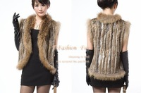 high quality  Hot Sale Winter fur Coat /Gilet/waistcoat/Jacket  natural fur outwear Woman Knitted Rabbit Fur Vest