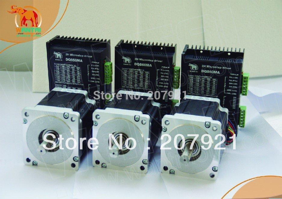 3 Axis Nema34 Wantai Stepper Motor Dual Shaft 1600oz In