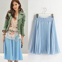 Sweet Blue Chiffon pleated t skirt  2012 new /Free shipping/ RX010
