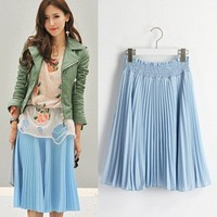 Sweet Blue Chiffon pleated t skirt  2012 new /Free shipping/ RX010