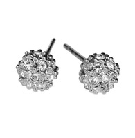 Min.order is $10 (mix order) silver tone 18k white gold plated ball stud earrings high quality free shipping E109