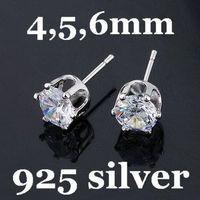 Free Shipping 4/5/6mm 925 Sterling Silver Zircon Stud Earrings CZ Stud Earrings 20pairs/lot Factory Direct