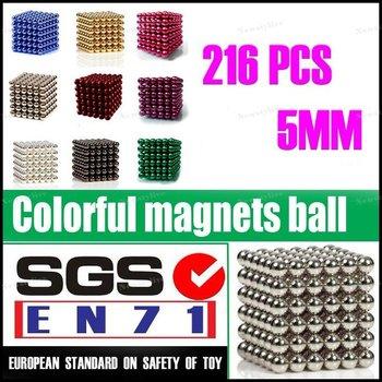 216Neo Neodymium 5MM Magnet Balls CubePuzzle Pink LightSkyBlue Red DarkGreen Gold Sliver Violet Black White Magic Buckyball