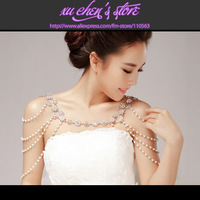 High quality fashion necklace wedding bridal jewelry rhinestone & simulated-pearl shoulder chain strap 2 Pack