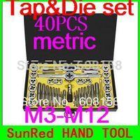 SunRed BESTIR TAIWAN ORIGINAL alloy steel 40PCS Metric screw Tap and threading die kits Iron Box hand tool,N0.93404 freeshipping