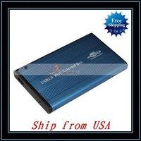 "Free Shipping + Wholesale 10pcs/lot 2.5"" Blue USB 2.0 IDE 2.5 HDD HD Hard Drive Enclosure Case Ship from USA-NTS01BU"