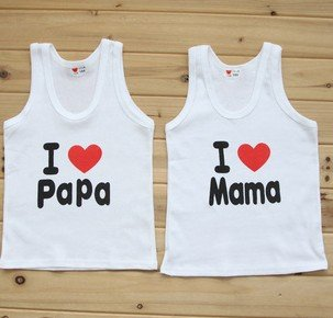 Fashion Clothing ! i love papa mama Children Clothing ,20 pcs/lot print kids t shirt ,t shirt for summer,100% cotton ,size 6M-3Y(China (Mainland))