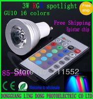 Wholesale 50pcs/lot 16 Color Changing GU10 3W 4W RGB LED Light Bulb Lamp spotlight + IR Remote Control 85-265V