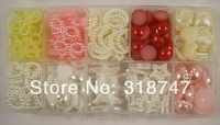 Free shipping 330 Mixed 10styles Pearl Bead with Compartment Plastic Box Pack