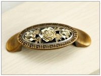 Decorative Antique Kitchen Cabinet Drawer Rose Of England Retro Handle (C.C.:64mm,Length:84mm)