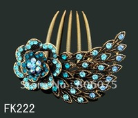 Wholesale bridal vintage zinc alloy rhinestone flowers hair Combs Hair Accessories Free shipping 12pcs lot mixed color FK222