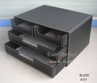 4-drawer black leather office filing cabinet  desk document file organizer holder storage box  A117