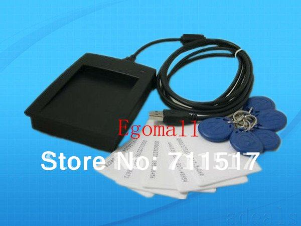 FREE SHIPPING USB 125KHz EM4100 RFID Proximity Reader + 5 Clamshell Card + 5 Keyfob F Access Control Staff Membership management(China (Mainland))