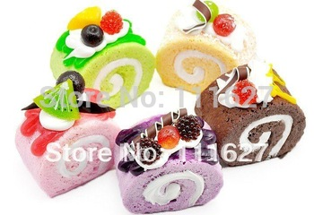 10pcs/lot Free Shipping, New Jumbo Squishy Buns Fruit Cake Roll Charms, Squishies Cell Phone Straps, Wholesale  Ll-01-120