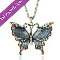 New Big Beautiful Butterfly Pendant Necklace Transparent Grey Austrian Crystal  Wings Red / Grey Bug  Mixed Long Vintage Jewelry